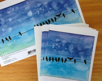 """6 blank cards - Birds on a Wire, """"Maintaining our Personal Space"""""""
