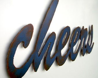 "cheers custom sign bar sign wall art - 24"" wide - choose your color with rust patina - metal wall art sign"