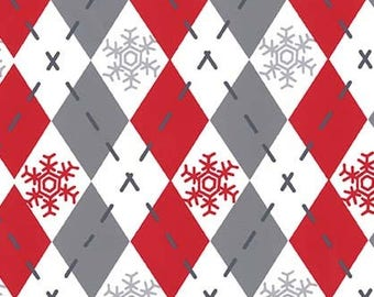 Christmas Fabric, Argyle, Gray Diamonds, Snowflakes, White Fabric, Cotton Fabric By The Yard, Red Fabric, Michael Miller, 1 Yard Fabric