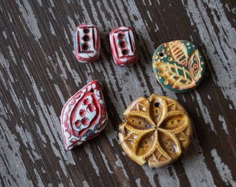 Polymer Clay Beads - Destash - Pendant and Earrings Set - Handmade Beads - Pendants - Bead Mix - Bead Soup Beads