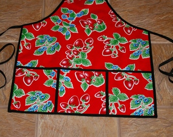 Red Strawberry Apron in Oilcloth