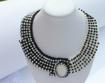 Domino Unique Black and White Necklace Statement Necklace Glass Beads Necklace Seed Bead Bead woven Necklace Anniversary Birthday gift