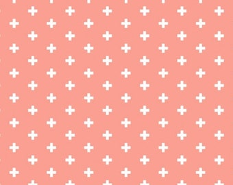 Plus fabric in coral - Dear Stella Sienna Positive quilting cotton