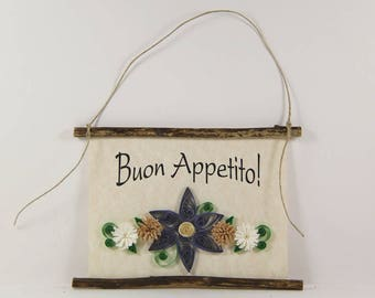 Buon Appetito, Paper Quilled Italian Kitchen Sign, 3D Paper Quilled Banner, Blue Tan White Decor, Italy Gift, Have a Good Meal Kitchen Art