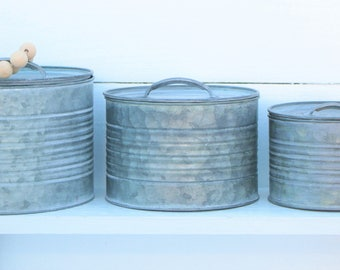 Set of Three-Galvanized Container-Metal with lids-Nesting Tins-Rustic-farmhouse Decor-Kitchen Decor-Vintage inspired-Tin Buckets-Display
