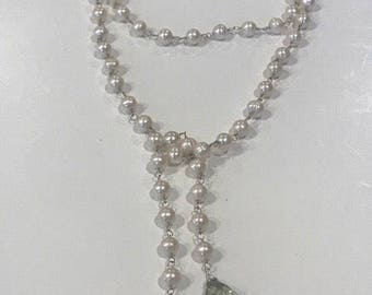 Long Sterling silver freshwater pearls and green amethyst long lariat, wrap, tie necklace
