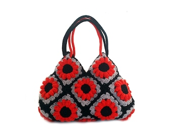 Flowers crochet handbag red and black crochet purse floral crochet bag granny purse shoulder bag everyday crochet bag boho shoulder bag red