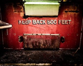 "Art Print: ""Keep Back 500 Feet"" in Colorado 2014, Old Firetruck, Milliken Fire Protection District, Colorado Fine Art Photography USA"