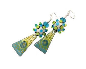Emaille grün blau Ohrringe, Murano Ohrringe, Ohrringe, lange Ohrringe, Tropfen Ohrringe, Handwerker, Murano Glas Perlen Schmuck