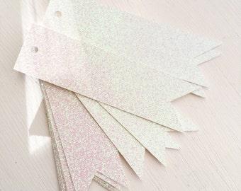 White Glitter Flag Tags - Gift Tag - Price Tag - Decorative Tag - Weddings - Holidays - Christmas Tags - Snow Tags