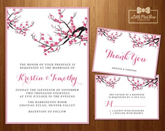 Cherry Blossom Wedding Invitation, RSVP, Thank You Card Printable Bundle, Sakura Wedding Invitation Set