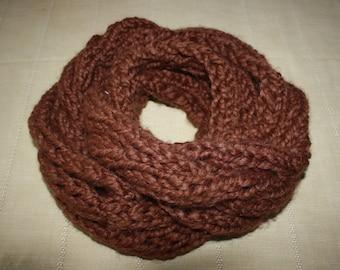 snood chocolate brown acrylic yarn