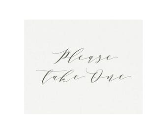 Melia: 5x7 AND 8x10 Favor Sign in Slate Gray, Please Take One Calligraphy Sign, Printable Wedding Sign, Reception Sign, PDF Instant Download
