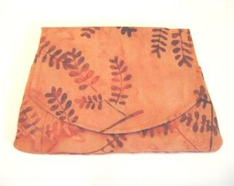 Orange Leaves  on Carrot Small Batik Wallet