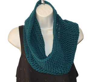 Infinity Scarf, Slouchy Scarf, Teal Cowl,  Winter Cowl,  Man Winter Scarf, Mens Cowl, Hand Crochet Scarf, Mens Winter Scarf, Womens Cowl