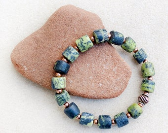 Men's Bracelet, Serpentine, Green, Dark Gray, Copper, Mala, Meditation, Zen, Yoga, Stretch Bracelet, Handmade, Gift for Him, Gift for Man