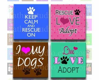 Instant Download - Rescue Adopt Dog Collage Sheet - 1 inch square for jewelry, pendants, hair bows, scrapbooking 345