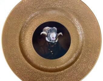 "Sir Ovis Aries Portrait Plate  -  Altered Vintage Plate 10.75"""