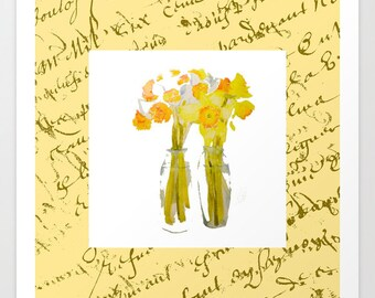Giclée print, Daffodils on Yellow with French Script