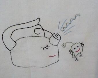 Singing Tea Kettle and Green Tea Bag tea towel-Hand embroidered