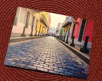 Puerto Rico in Pictures - 4x5.5 Magnet - Street in Old San Juan, Puerto Rico. Governor's house at the end.