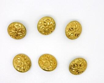 Round button, vintage, Gold Flower