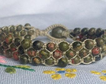 Unakite Knotted Bracelet