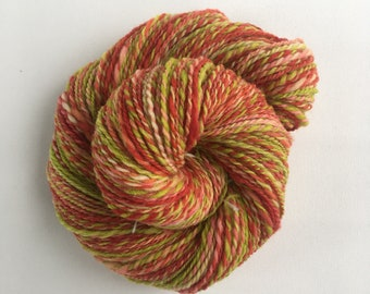 Hand Dyed and Spun Yarn, Southdown fiber, Strawberry Mojito.