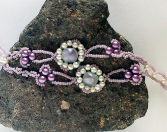 Lavender and Ivory Flower Bracelet - Hand Beadwoven
