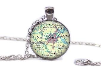 Nashville Map Pendant Map Necklace Map Jewelry