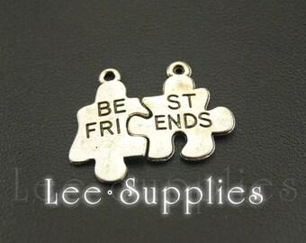 10sets Antique Silver Alloy Best Friends Jigsaw Puzzle Piece Charms Pendant A1050