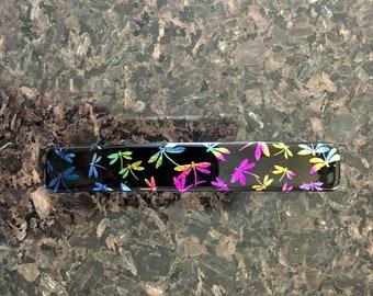 Hair Barrette French Clip, MultiColored Dragonflies, Dichroic Art Glass