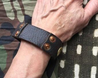 Brown Leather w Rivets Cuff Bracelet/Punk Cuff/Black Metal Cuff/Handmade Cuff