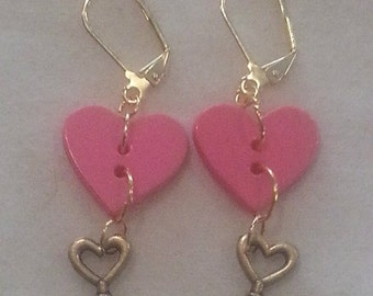 Pink heart and key button earrings