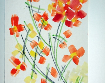 """FREE SHIPPING Watercolor flowers . Original painting 9.7"""" x 6.3"""" (24x16 cm)"""