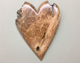 Personalized wooden heart wood carving 5 year wood Anniversary gift