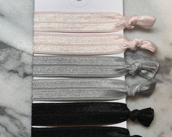 Elastic Hair Ties | Set of 6 | Pink Gray Black, Elastic Ribbon Hair Ties, Ponytail Holders, Creaseless Stretchy Hair Bands