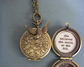 She Believed She Could So She Did, Locket, Necklace, Graduation, Inspirational Jewelry