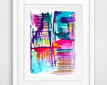 original modern wall art abstract art print contemporary art modern art print pink lila lines home decor print