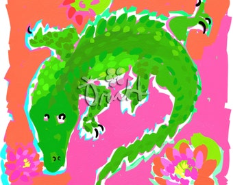 Gator Print 11x14 Pink and Green Gator Alligator by Kelly Tracht, Preppy Gator Art Item #2V
