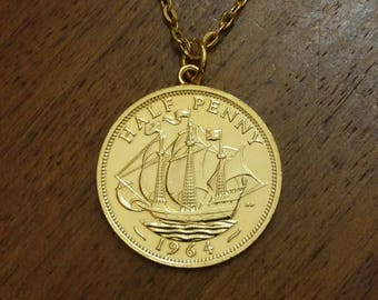 1964 Halfpenny - Gold Plated Coin Necklace
