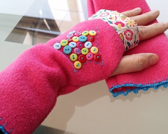 Fingerless gloves one size adult - liberty and boiled wool