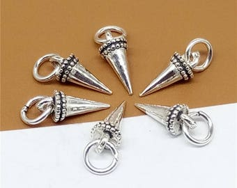 6 Sterling Silver Spike Charms, 925 Silver Spike Charms, Spike Pendants, Punk Charms - JH995
