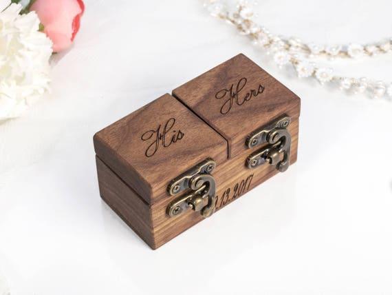 WALNUT ring bearer box wedding ring box ring box wedding