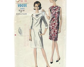 60s MOD Slim Dress Pattern / VOGUE 6693 / Dress with Bias Scarf Yoke Neckline / Vintage Sewing Pattern