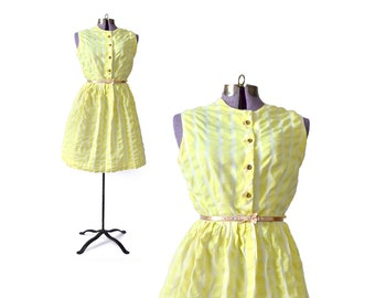 1950s Dress 50s Dress Yellow Dress 50s Vintage Dress 1950s Yellow Dress 50s Yellow Dress 1950s Cotton Dress Vintage Clothing Womens Clothing