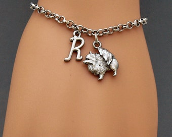 Pomeranian dog charm bracelet, antique silver, initial bracelet, friendship, mothers, adjustable, monogram