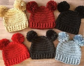 Baby hat, crochet hat, crochet baby hat, pom pom hat, crochet beanie, winter hat, baby beanie, toddler hat, childrens hat, kids beanie