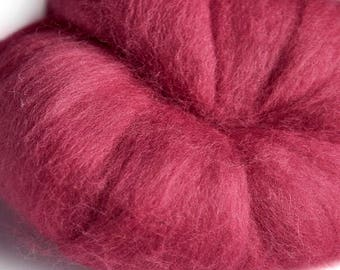Merino Fuschia (Pink) Wool Roving 100 grams