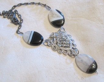 Black White Necklace Upcycled Repurposed Assemblage Art Deco Jewelry Agate